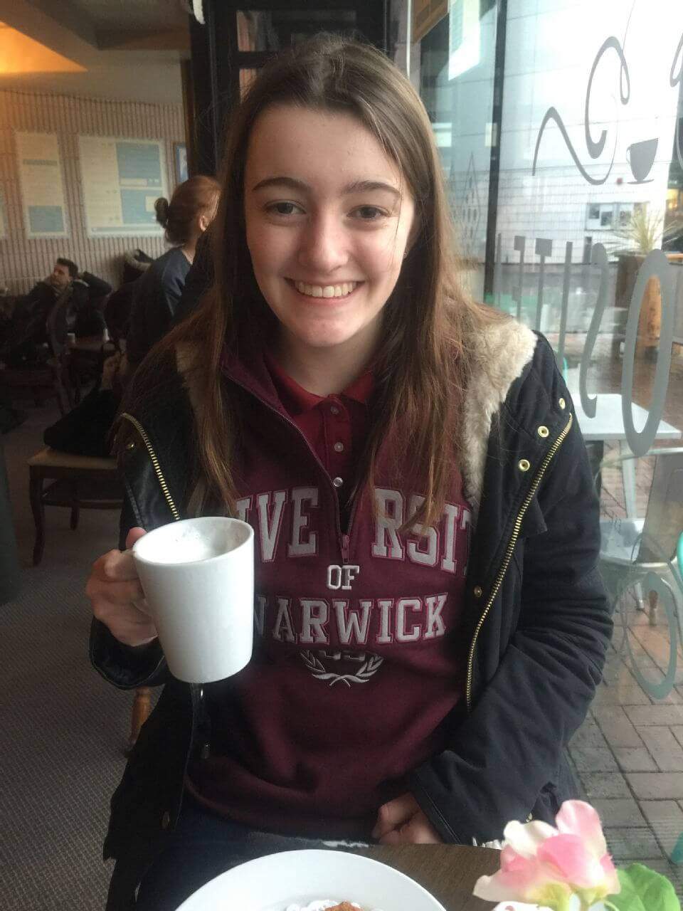 Me enjoying my first ever white hot chocolate at curiositea