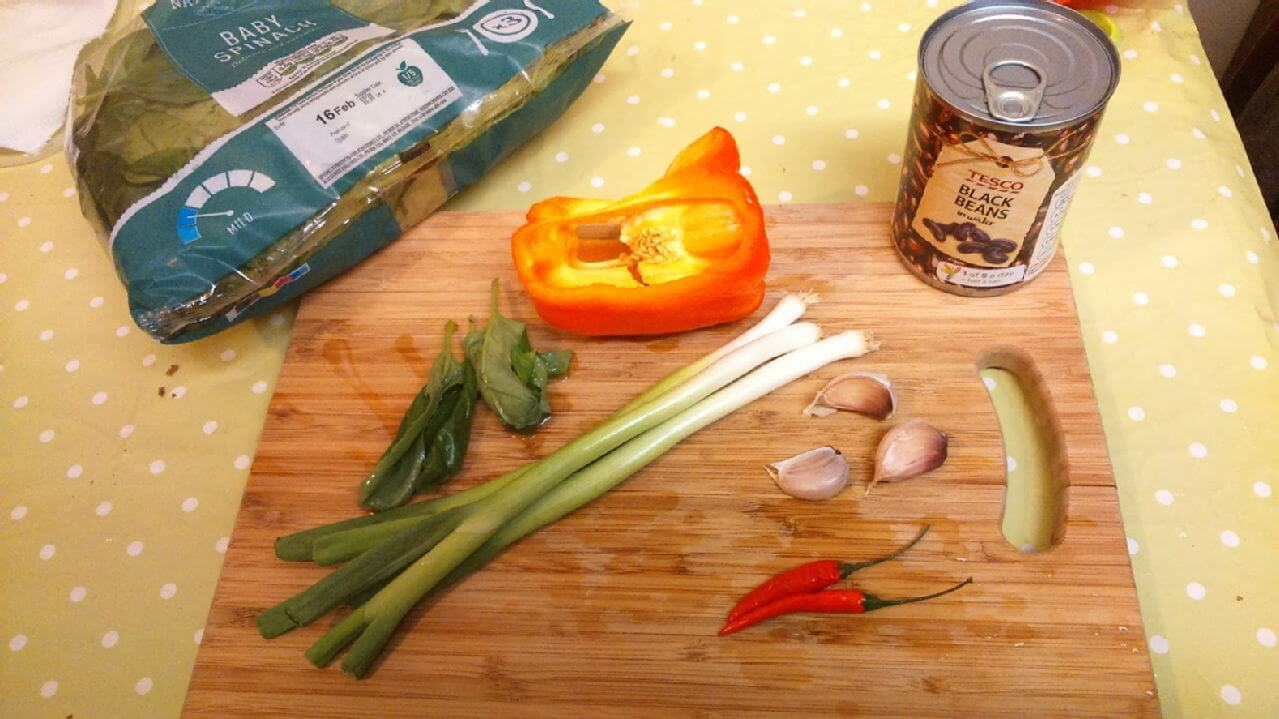 Ingredients on chopping board
