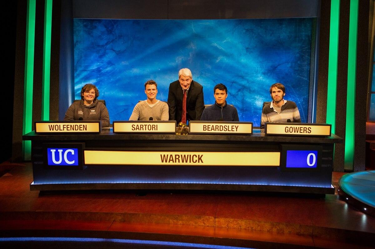Warwick University Challenge Team 2018: Emily Wolfenden, Jac Sartori, Ben Beardsley and Rob Gowers