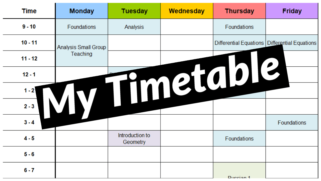My First Year Maths Timetable